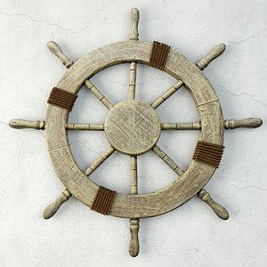 large marine ship wheel 3D model