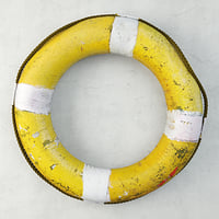 midcentury yellow white life preserver model