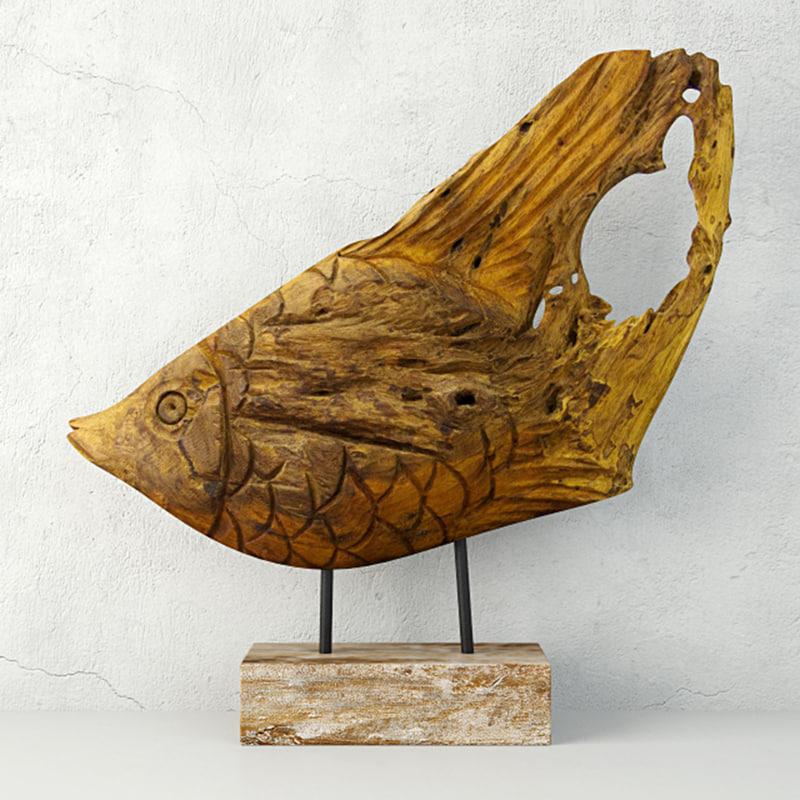 reclaimed teak root fish 3D model
