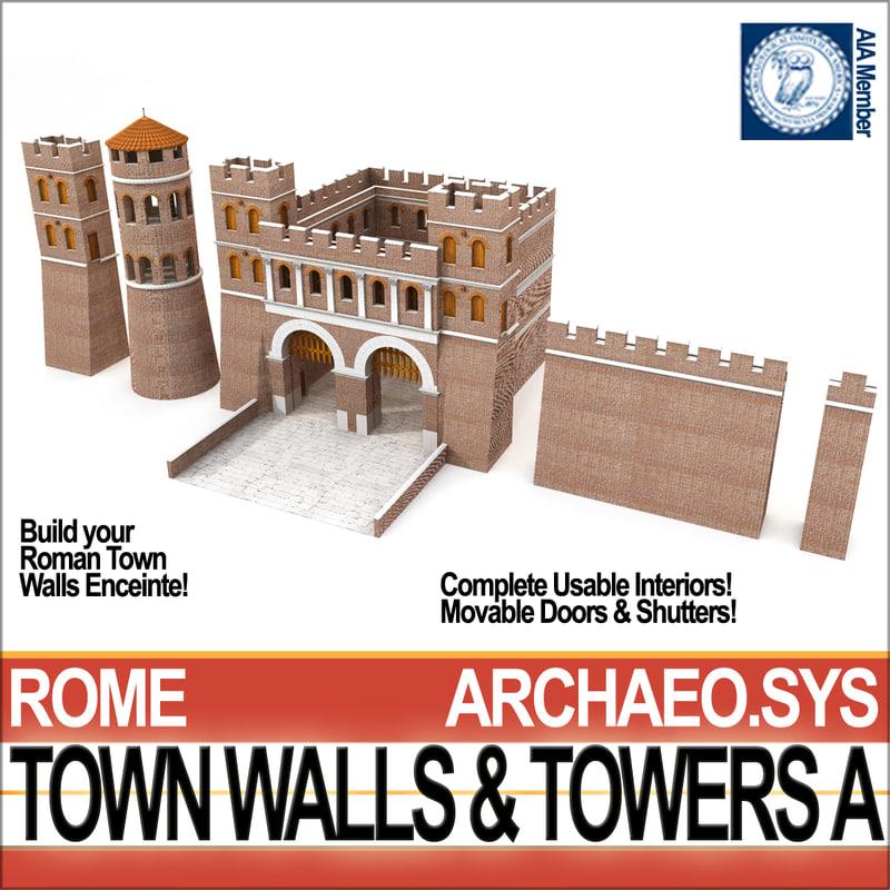 ancient roman town walls 3D model
