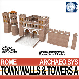 ancient roman town walls 3D model