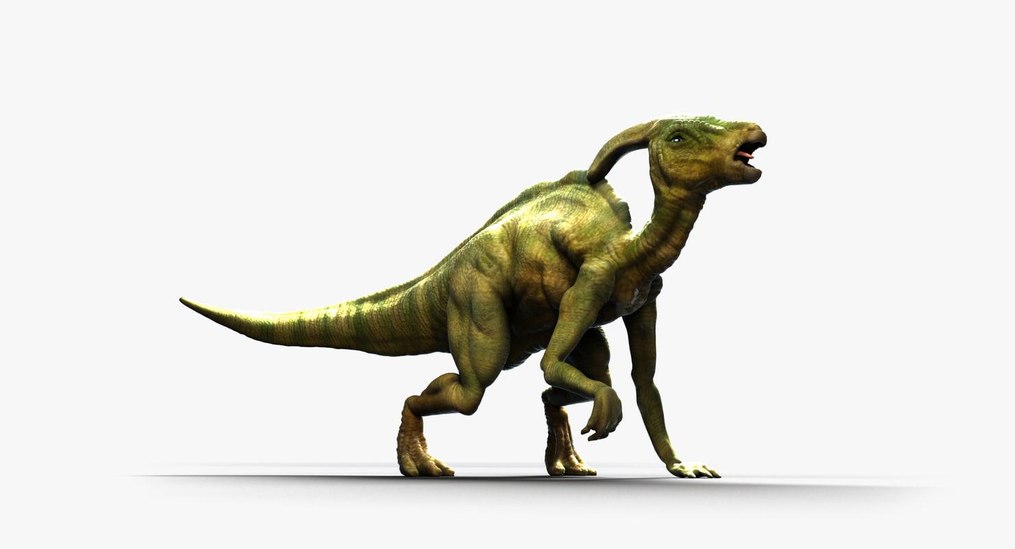 3D parasaurolophus dinosaur animate