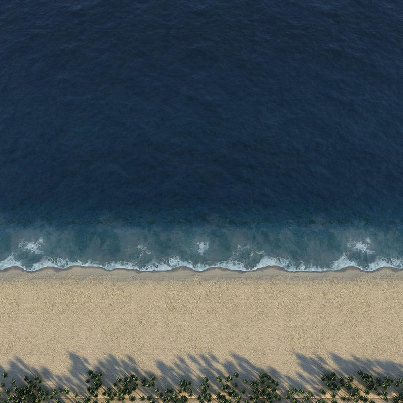 3D ocean shore line loop animation model