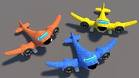 plane cartoon 3D model