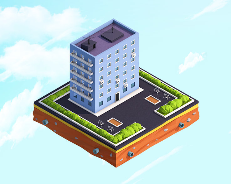cartoon residental house 3D model