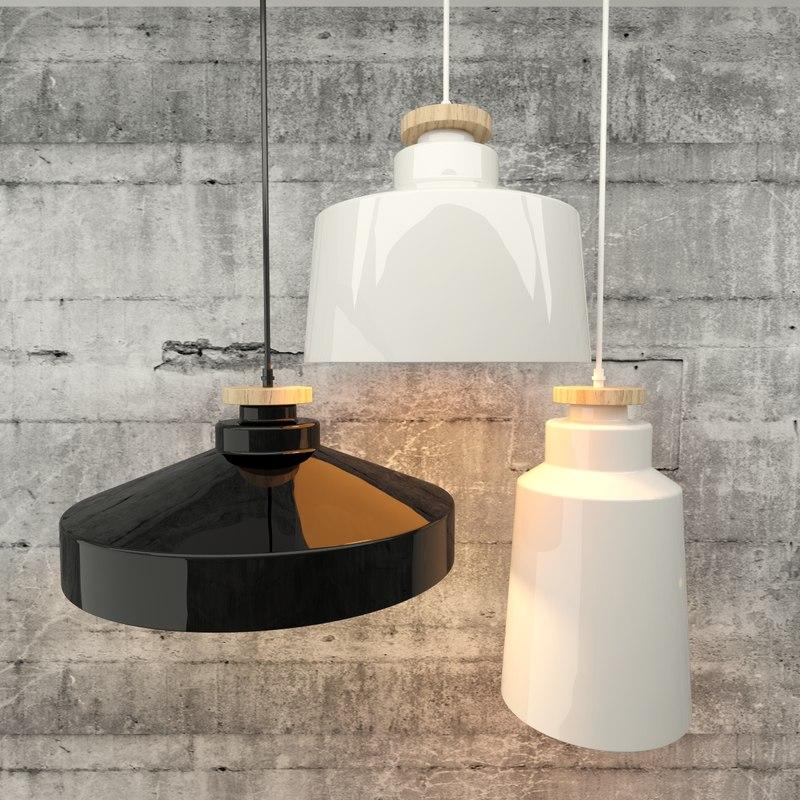 ceramic wood lamp lights 3D model