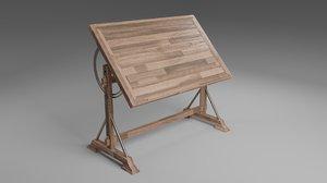 3D drafting desk model