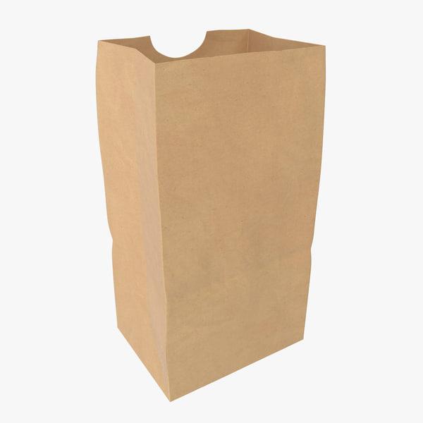 3D grocery bag handle open model