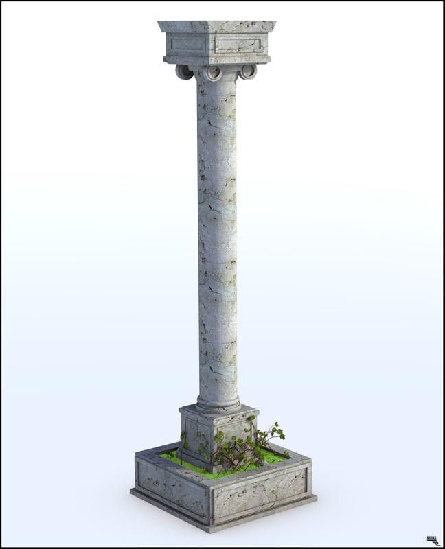 ancient column 3D model