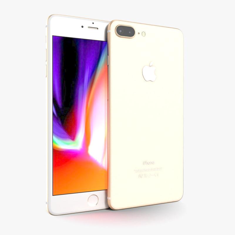apple iphone 8 gold 3D
