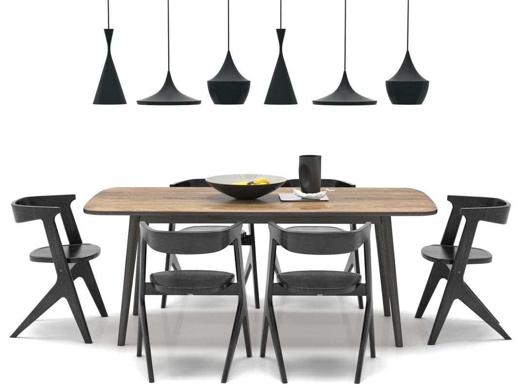 3D dining set 3 model