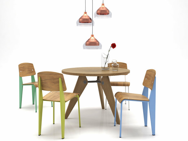 3D model dining set 7 chair