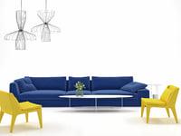 3D living set 12 model