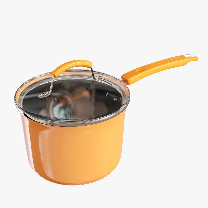 3D kitchen utensils sets saucepan model