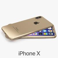 3D model iphone x gold