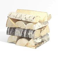 3D birch wood firewood