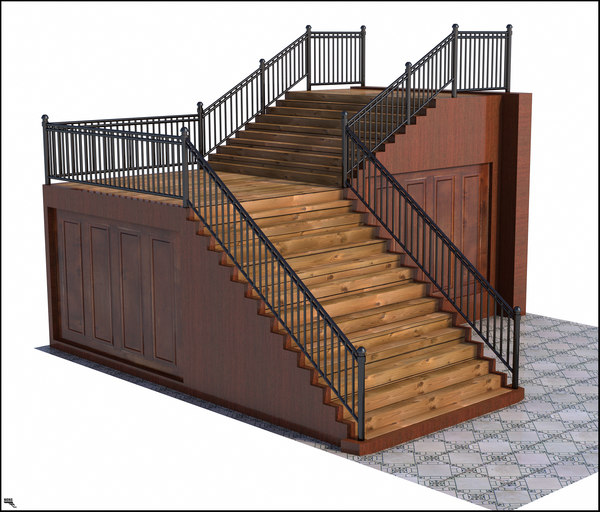 stairs wood 3D model