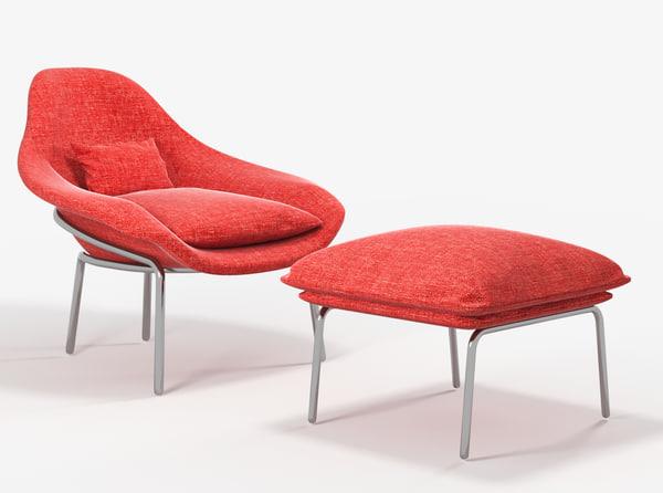 3D model west elm rowan chair