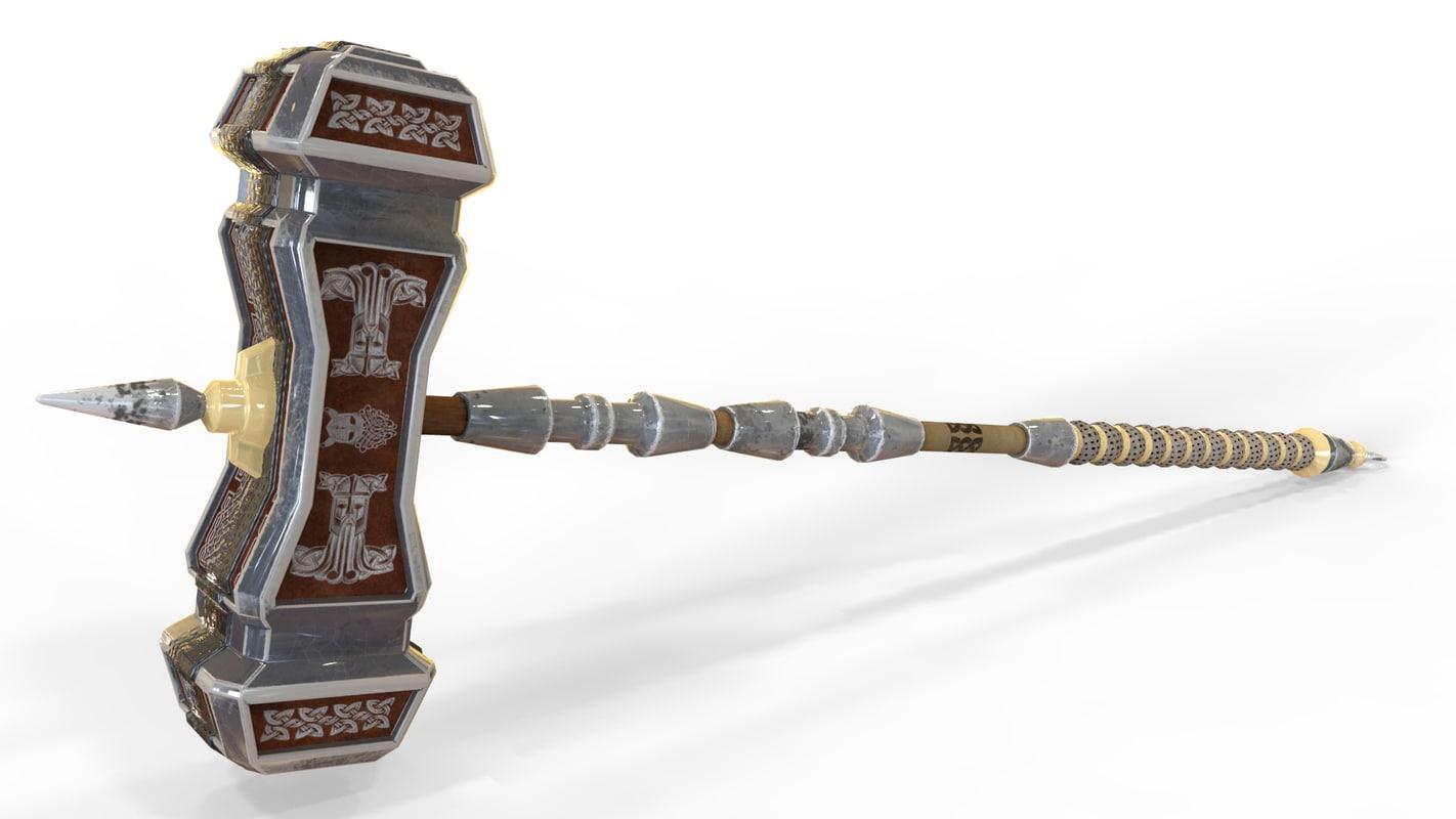 battlehammer dwarven hammer 3D