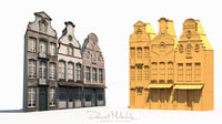 3D old buildings facade model