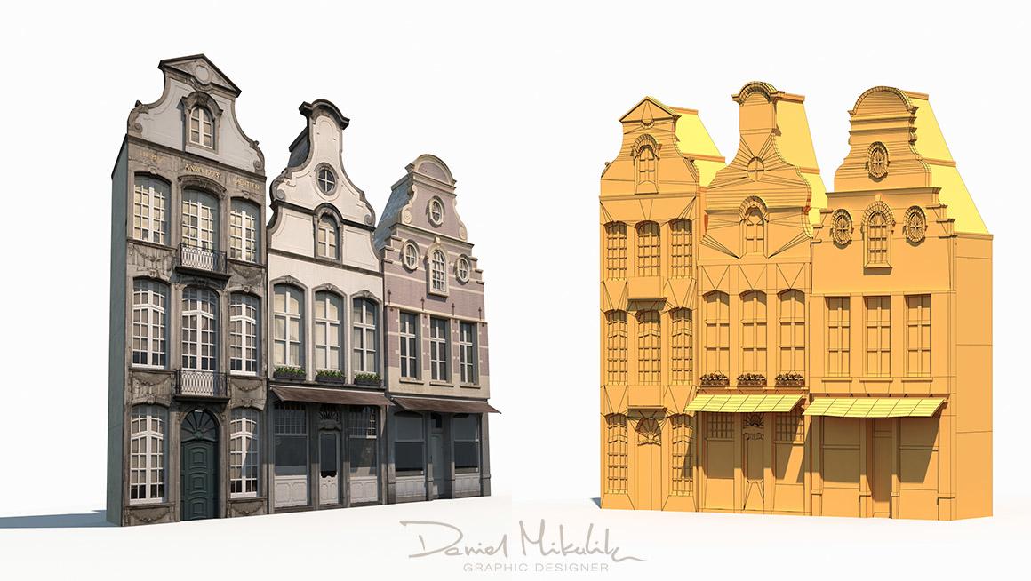 3D old buildings facade model