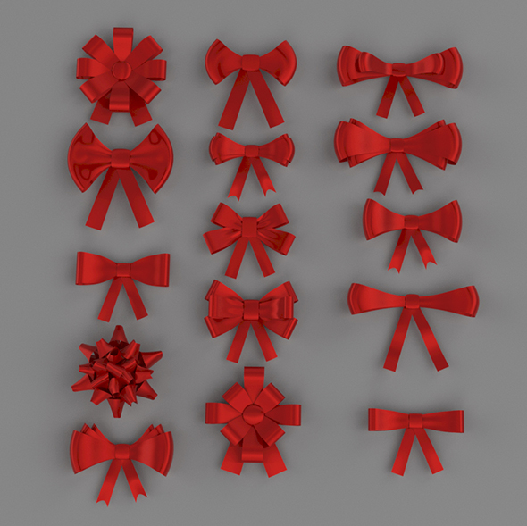 ribbon bows 3D model