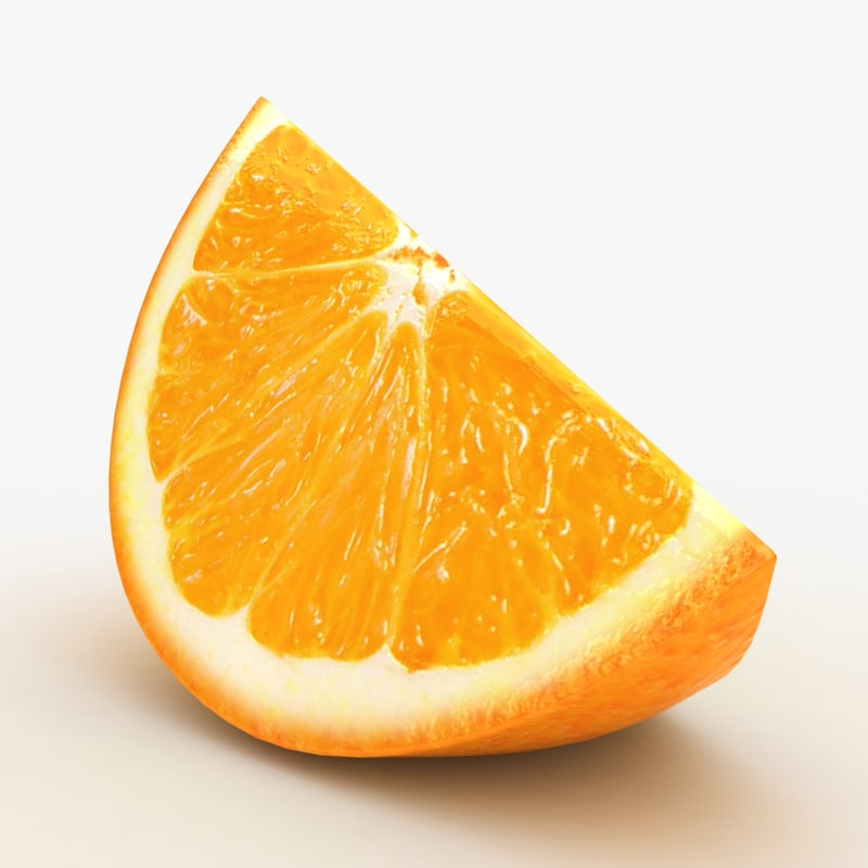 3D realistic orange slice