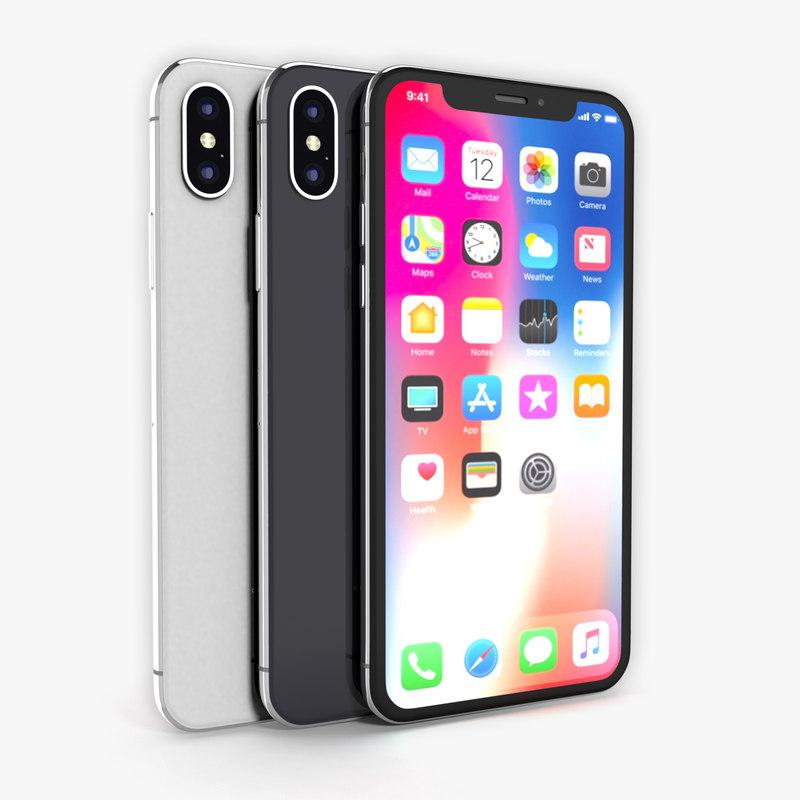 2dc83892e5c Apple iphone x silver 3D - TurboSquid 1204932