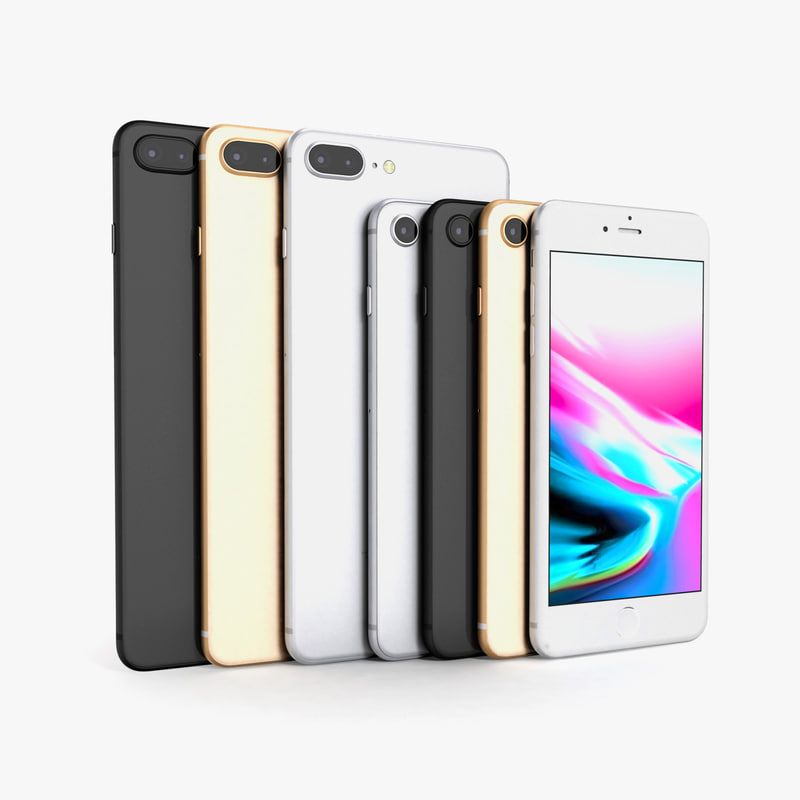3D model apple iphone 8 colors