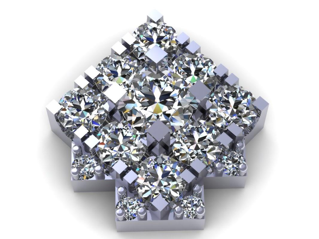 3D diamond earring