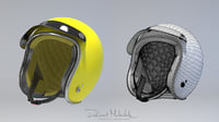 yellow retro motorcycle helmet 3D model
