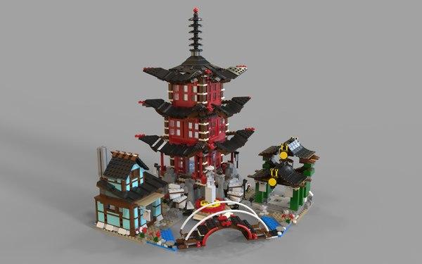 3D lego temple model