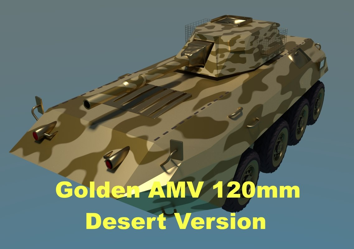 3D golden amv armored mortar
