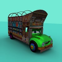 pakistani truck cartoon 3D