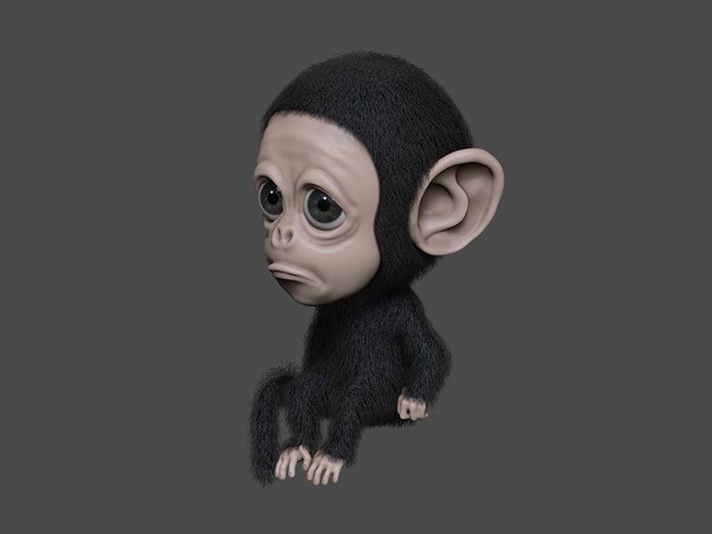 3D sad monkey