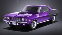 plymouth cuda barracuda 3D model