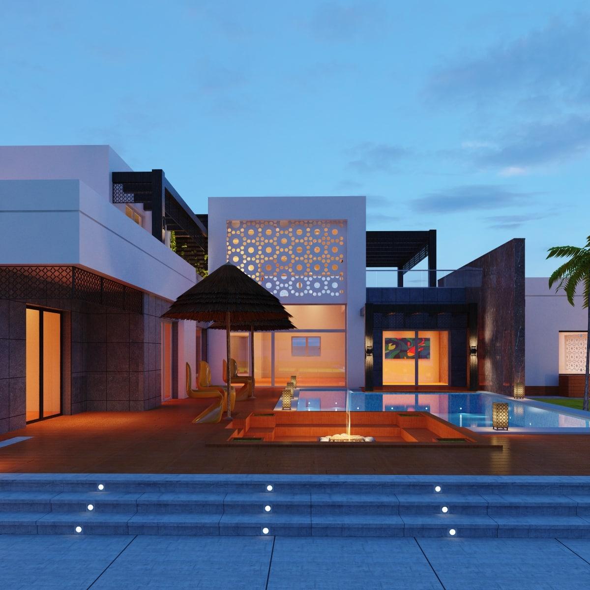modern villa landscape 3D