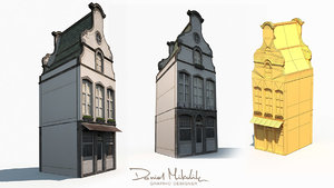 3D old buildings facade