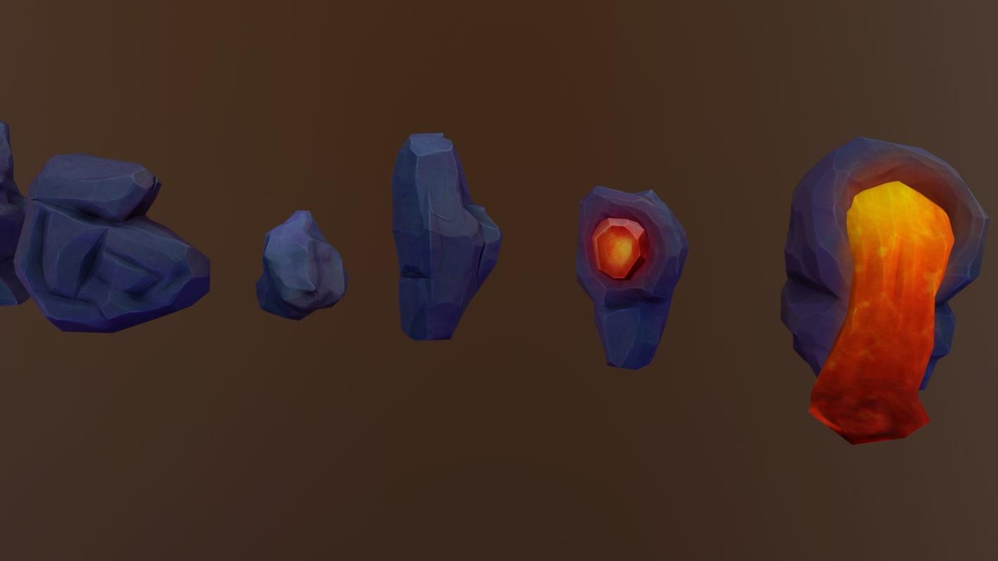 cartoon stones 3D model