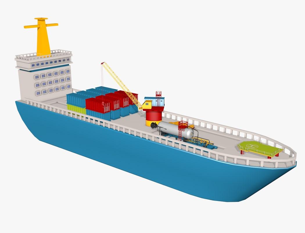 3D model tanker ship
