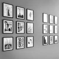 18 framed photos in black & white