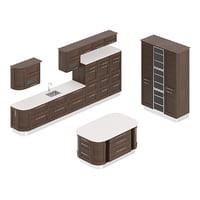 rounded kitchen furniture set 3D model