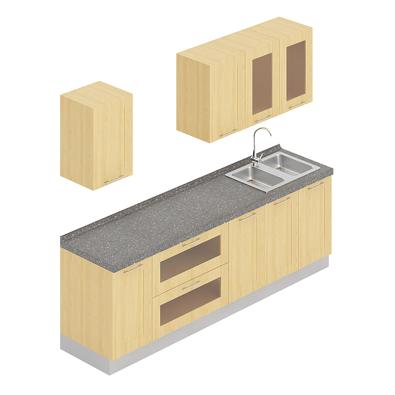 3D kitchen furniture set model