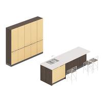 3D model kitchen furniture set