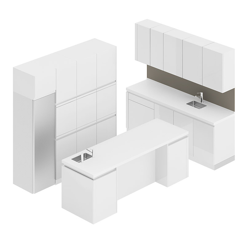 3D white kitchen furniture set model