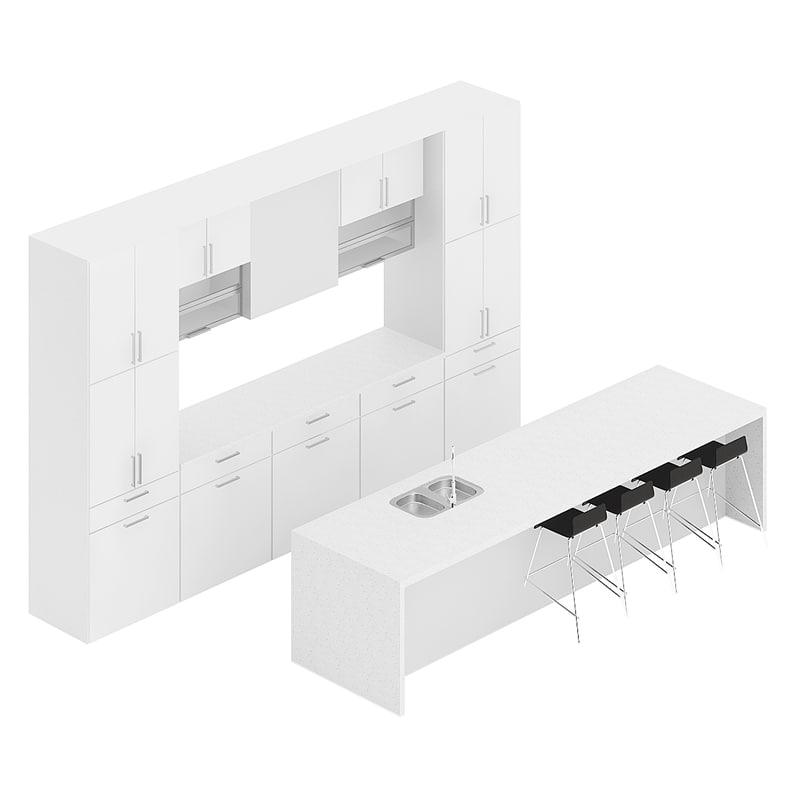 3D white kitchen furniture set