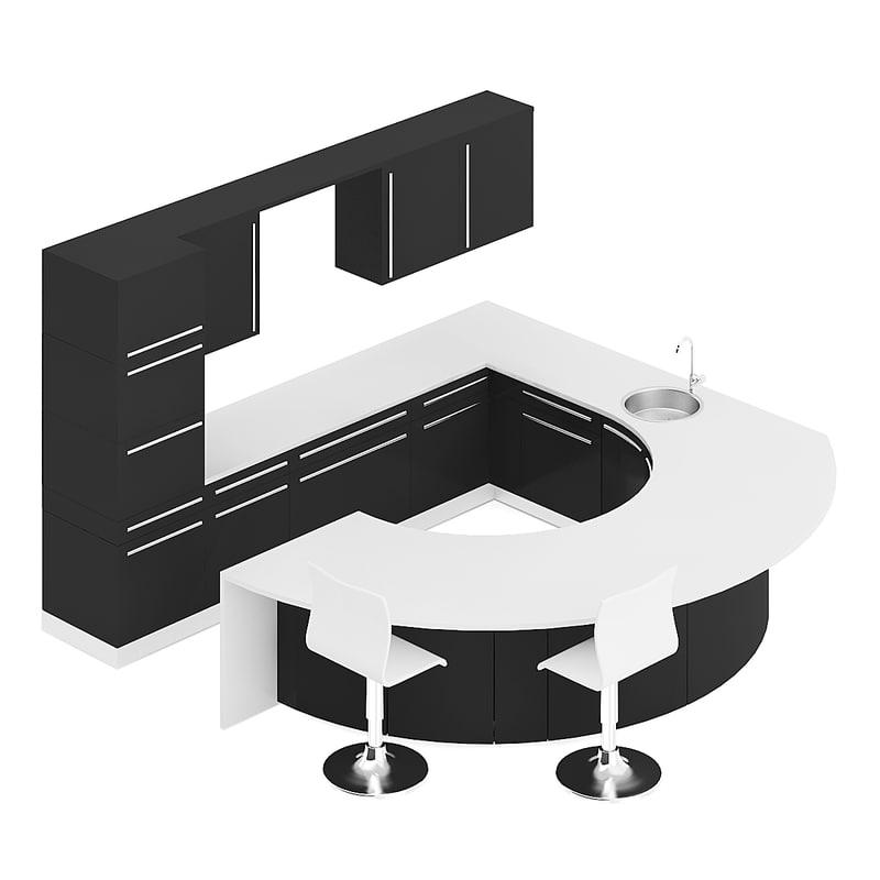 3D black kitchen furniture set