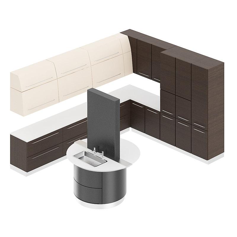 3D kitchen furniture set model