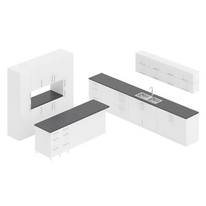 3D white kitchen furniture set