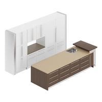 white kitchen furniture set 3D model